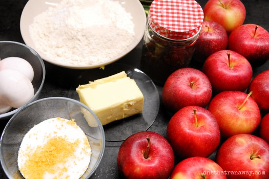 apples and ingredients for a layered apple cake