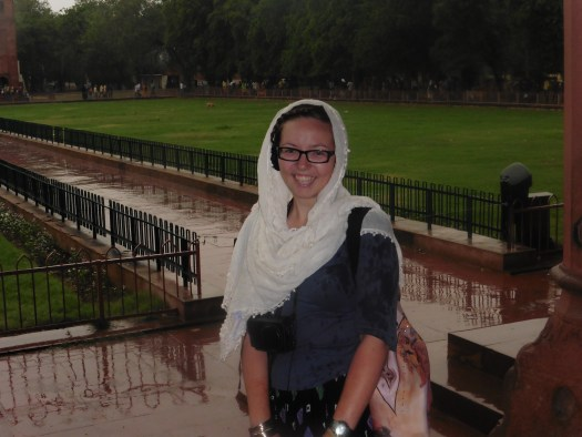 Sightseeing at the Red Fort in Delhi last year - managing to look pretty fresh-faced despite torrential rain and winds...