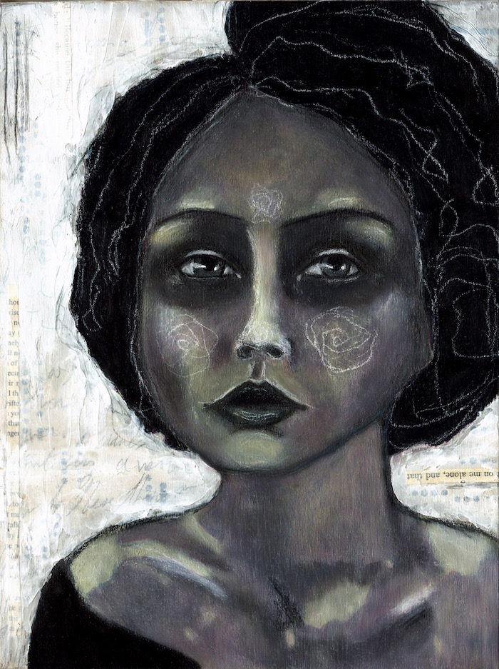 a photo of a mixed media painting by angela amias