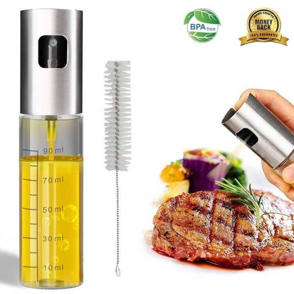 100ml Glass Olive Oil Sprayer Empty Bottle Oil Dispenser with cleaning brush for Cooking Salad Picnic BBQ Kitchen Baking tools