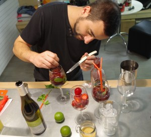 person making a cocktail