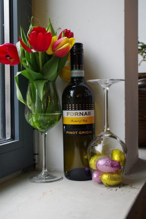 Tulips, chocolate eggs and Italian white wine