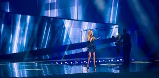 """Lidia Isac representing Moldova with the song """"Falling Stars"""" during a rehearsal before the first semi final of the Eurovision Song Contest 2016 in Stockholm."""