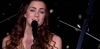 Lucie Jones, singing for the UK at the 2017 Eurovision Song Contest