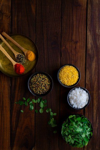 Moringa Leaves, Split Yellow Moong Daal and other ingredients photography