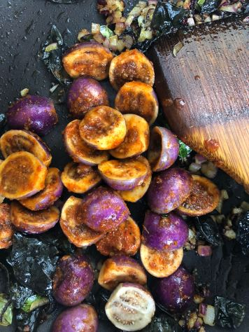 Eggplants being cooked for Dahi Baingan recipe by OneWholesomeMeal