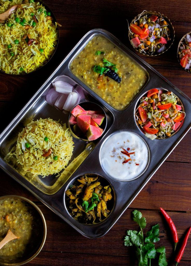 A complete Indian Vegetarian Thaali