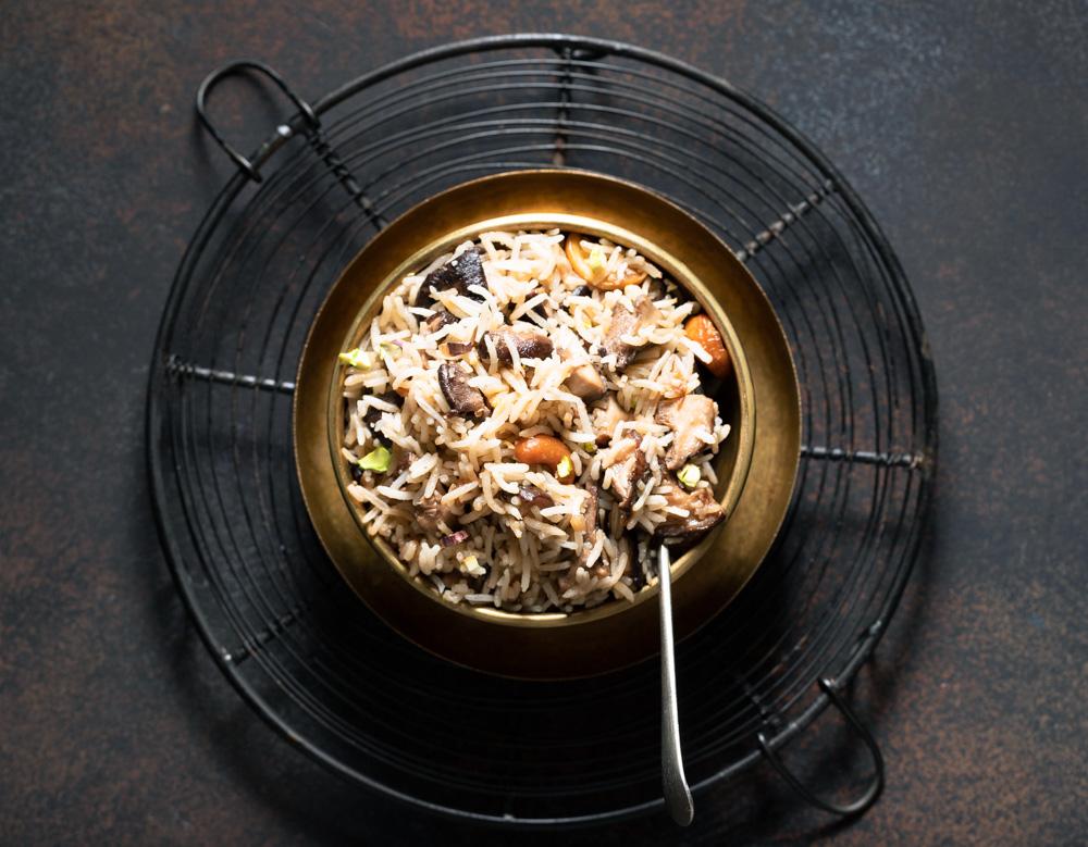 One Pot Mushroom Pulao/Pilaf
