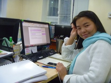 My desk buddy, fellow language learner and one of my chief partner's in crime, Eegii