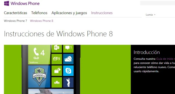 Instrucciones de Windows Phone 8