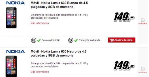 Ya puedes comprar el Nokia Lumia 630 en Amazon y Mediamarkt