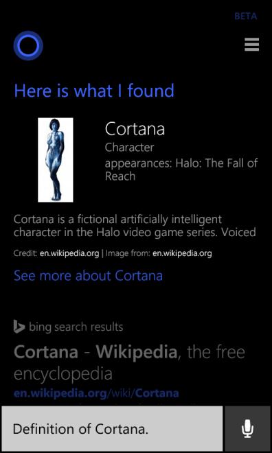 Definition of Cortana