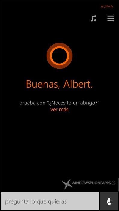 El primer saludo de Cortana en Español