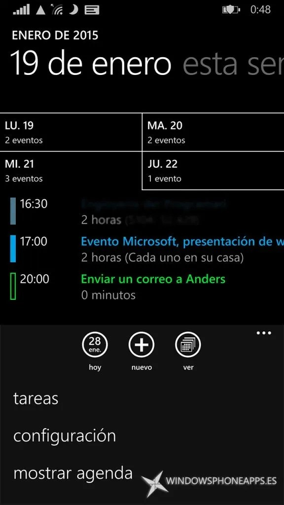 Modo calendario en el Calendario de Windows Phone 8.1