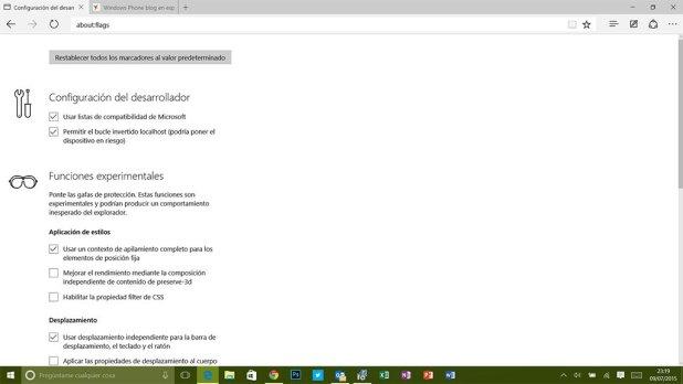 Microsoft Edge en la Build 10166 de Windows 10.