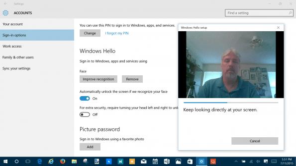 reconocimiento facial con Windows Hello