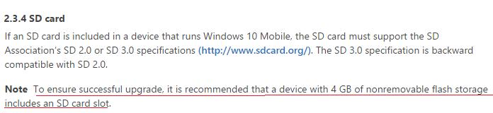 Windows 10 Mobile almacenamiento