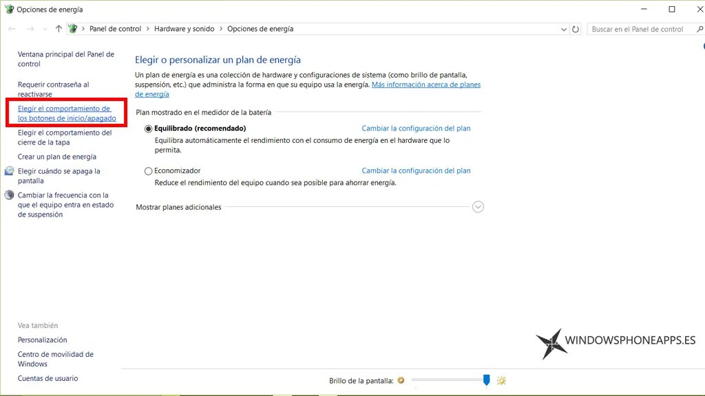 configurar apagado windows 10 - panel 1