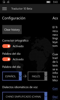 Configuración de Traductor 10 Beta