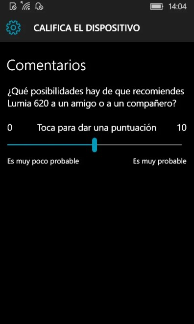 Califica tu dispositivo en Windows 10 Mobile (1)