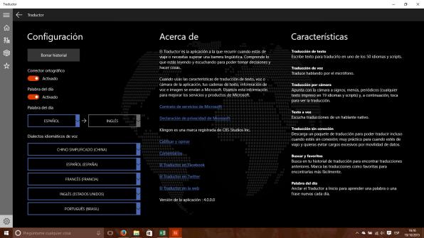 Configuración y Acerca de Traductor para Windows 10 PC