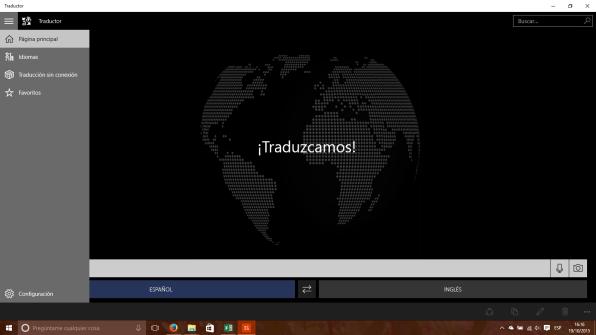 Opciones del menú hamburguesa en el Traductor para Windows 10 PC