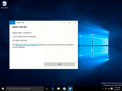 w10 build 10558 skype video
