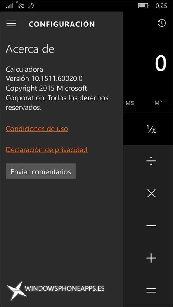 Acerca de Calculadora de Windows 10.1511.60020.0