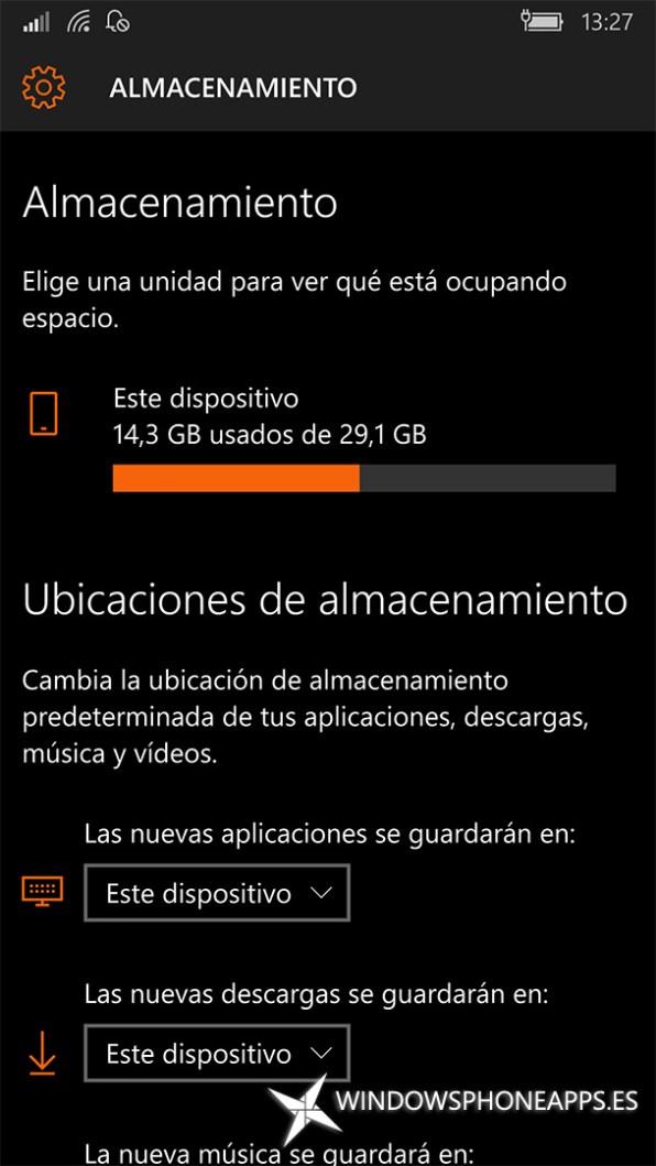 Almacenamiento en Windows 10 Mobile