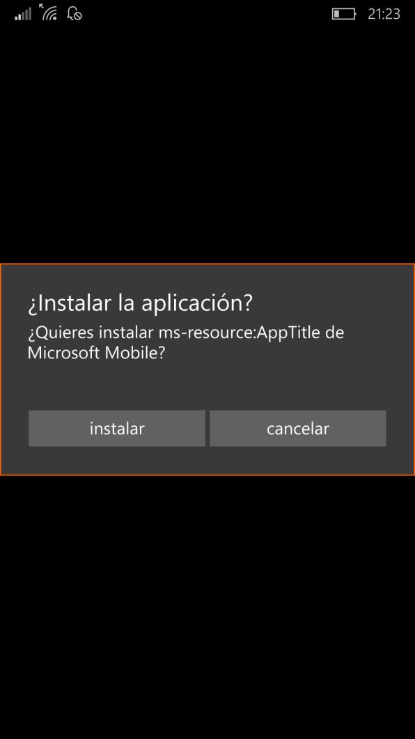 Cuadro de confirmación para instalar motiondatanse.appx (Datos de movimiento de Lumia)