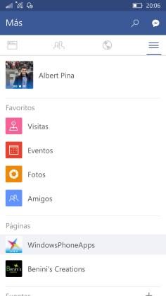 Facebook para Windows 10 Mobile