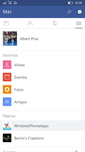 Facebook para Windows 10 Mobile