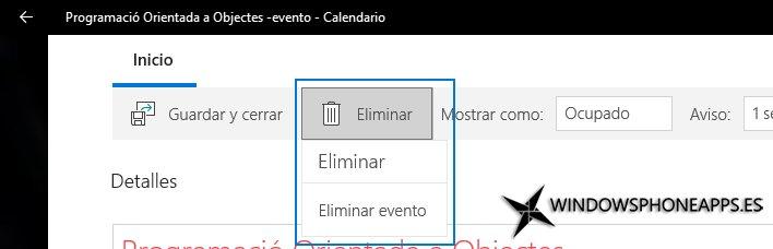 Dos pasos para eliminar un evento en Correo y Calendario