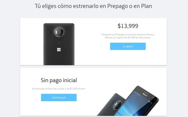Microsoft Lumia 950 XL, prepago o plan con Movistar México