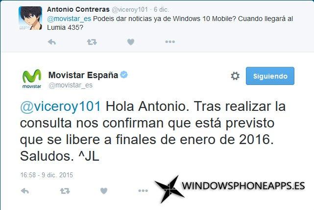 Windows 10 Mobile en enero de 2016 según Movistar