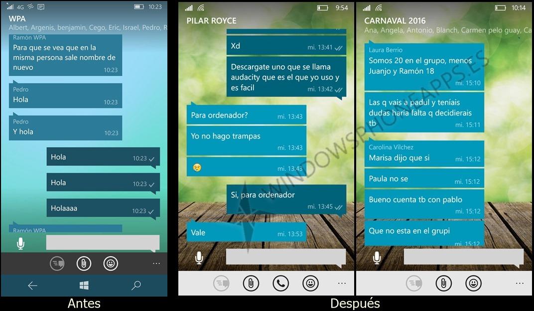 Whatsapp beta cambios visuales