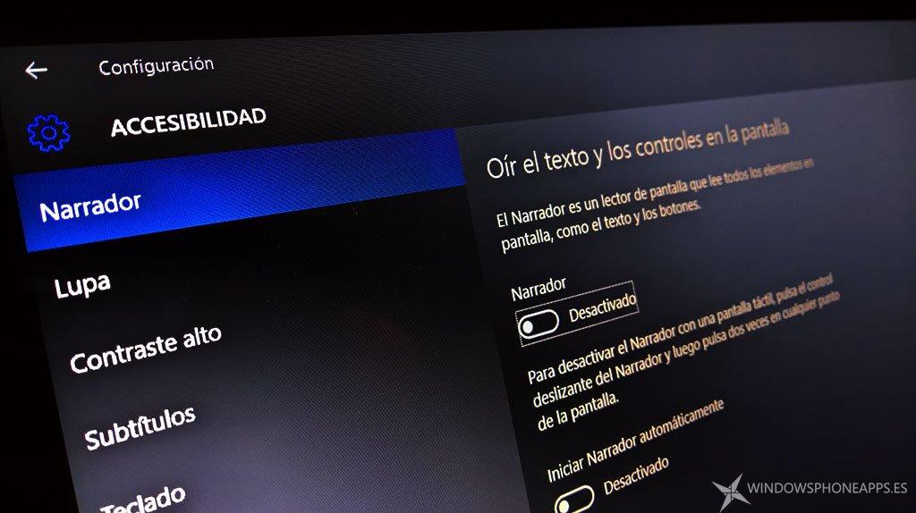 Narrador de Windows 10