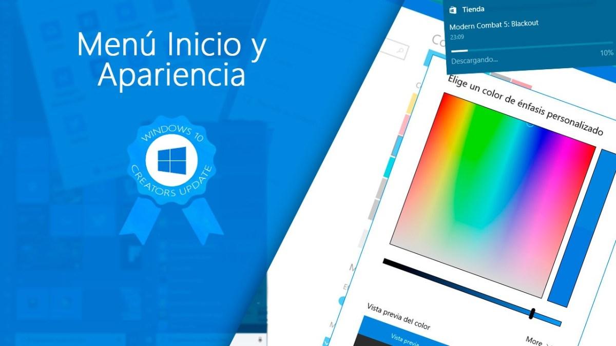 Todas las novedades del Menú Inicio y la Apariencia de Windows 10 Creators Update
