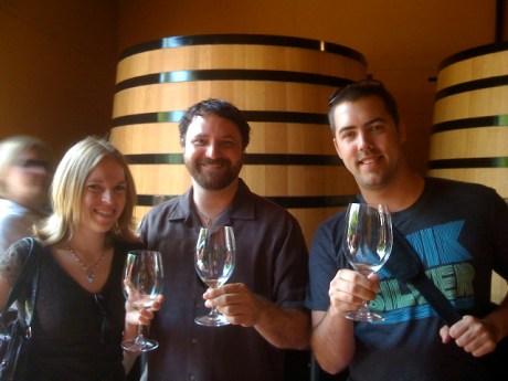 BreeAnn, me and Josh tasting the Sauvignon Blanc