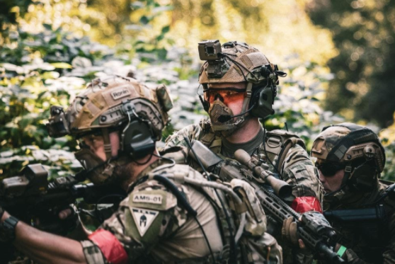 A group of airsoft players deciding tactics