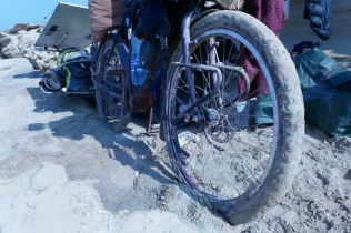 Dank Zahnriemen läßt sich das Rad auch auf unwegsamen Gelände bewegen.