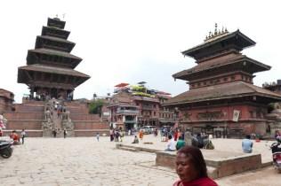 Tempelanlage von Bhaktapur. Stop auf dem Rückweg mit dem Bus nach Kathmandu.