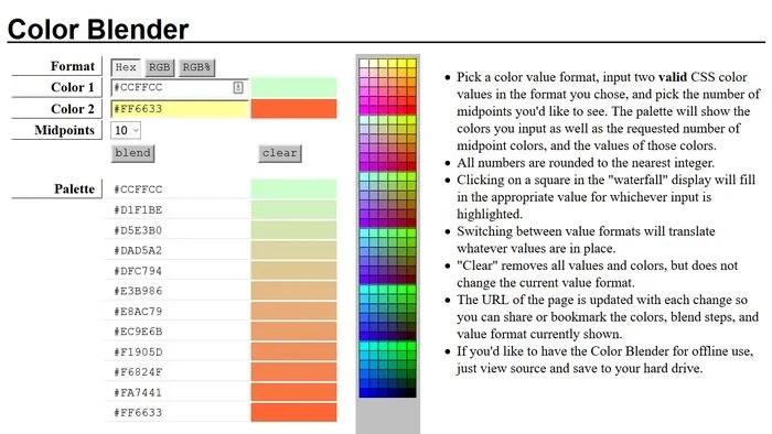 Color Blender Color Palette Generator