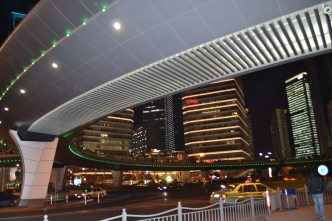elevated walkway at night