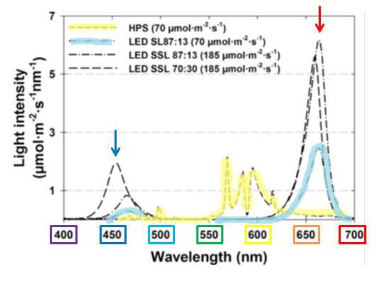 Wavelengths of light in HPS and LED supplemental lighting