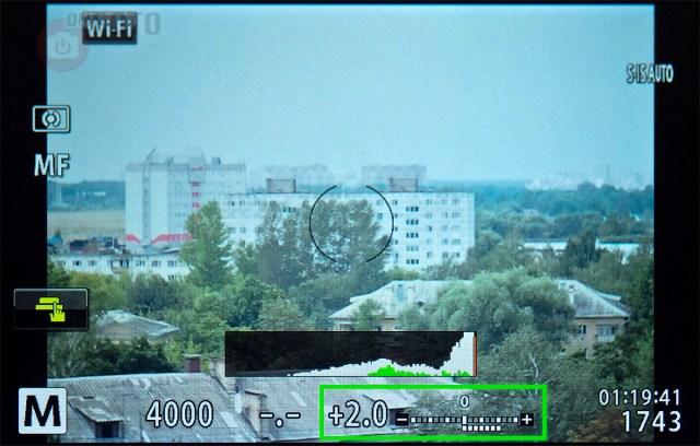 Дисплей камеры (пересвет на 2 ступени)