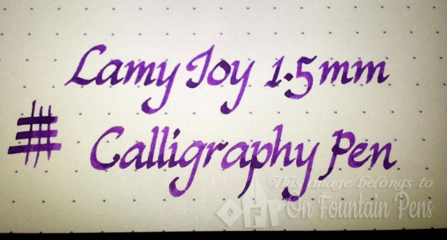 Writing sample: Lamy Joy AL with Lamy Violet ink