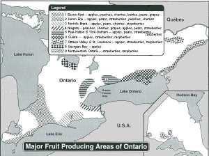 map showing fruit growing areas in Ontario