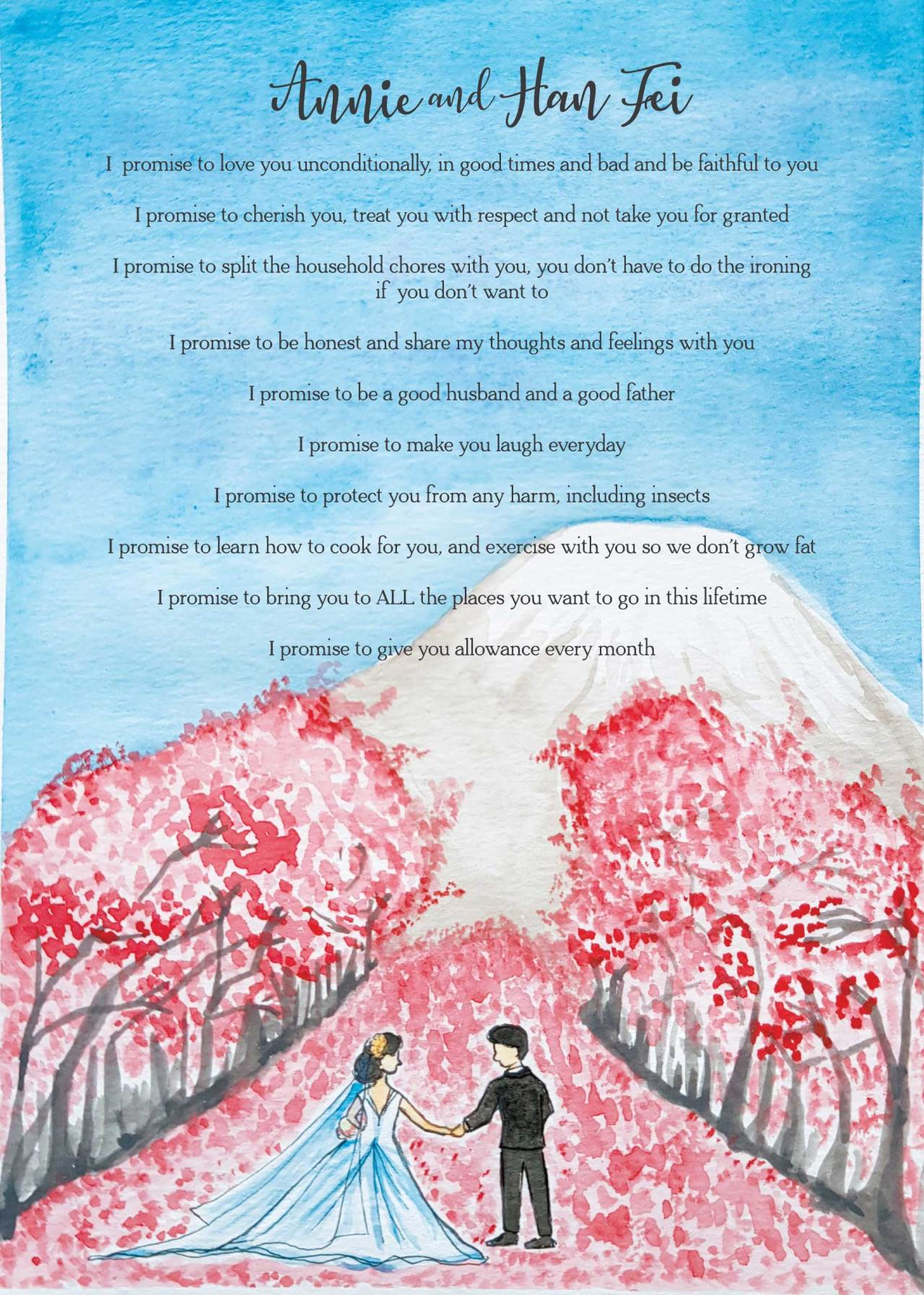 Ong Lai Art - Custom Illustration - Wedding Vows Board - Final Artwork