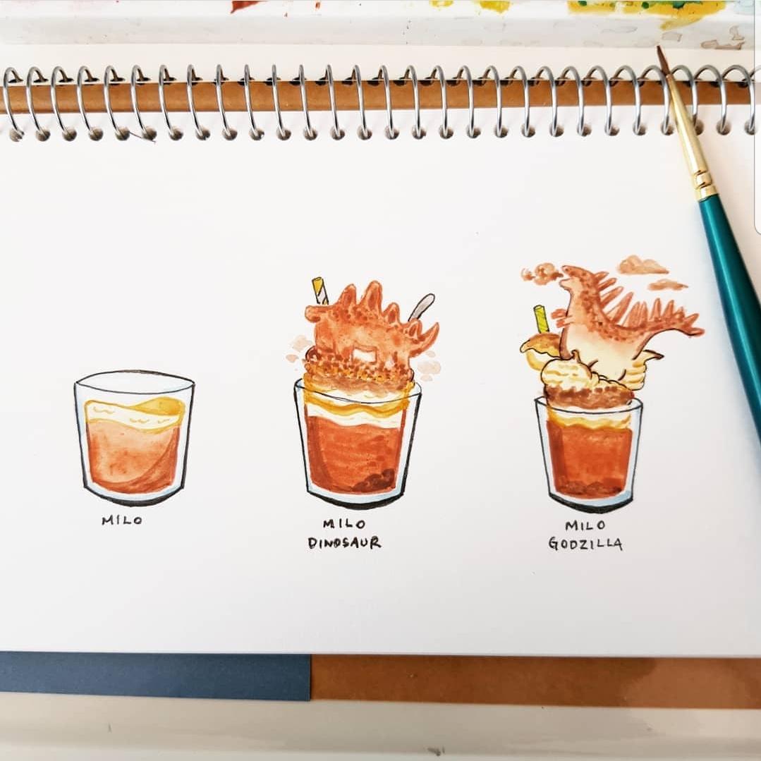 Illustration of Milo drinks - milo, milo dinosaur, milo godzilla - ink and gouache
